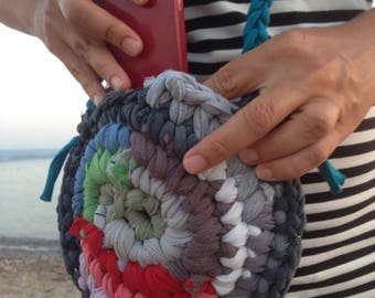 Crocheted colorful upcycled tshirt yarn bag with two different sides