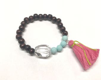 Blue, pink, and wood bead bracelet