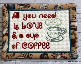 ITH Mugrug Coffee Mugrug 5x7 Machine Embroidery Love and Coffee