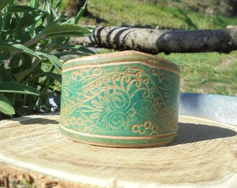 Bracelet leather cuff leather effect ages turquoise Eastern spirit