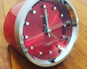 SALE! Vintage Rhythm 2 Jewels WInd-Up Alarm Clock - Red - Working - Space Age - Retro