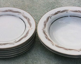 Noritake Gaylord 5526 - six (6) Bread and butter plates, two (2) rim soup bowls