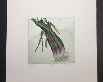 Anne Belov Etching Hand Water Colored by Artist Scallions s/n