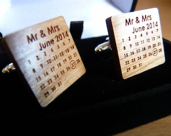 Personalised Calendar Dated Wedding Cufflinks : Wooden Engraved Cuff links for Groom, Best Man, Ushers, Father of The Bride, Father Of Groom