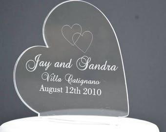 Personlised Destination Wedding Heart Wedding Cake Topper