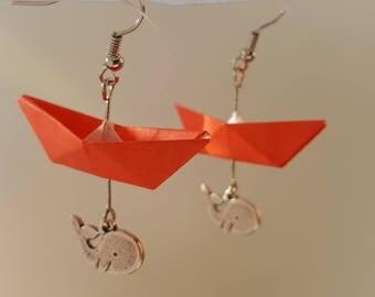 Red boat origami earrings