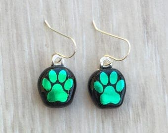 Dichroic Fused Glass Earrings - Green Dog Paw Laser Engraved Etched Earrings with Solid Sterling Ear Wires