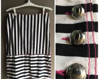 Vintage 90's MOSCHINO JEAN Striped High Skirt -Black And White (Size L)-Free Shipping