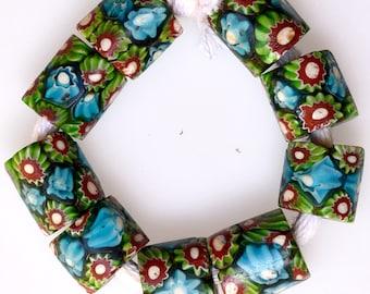 9 Matching Venetian Millefiori Beads - Vintage African Trade Beads - #8288