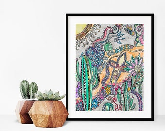 Desert Decor/Colorful Saguaro Cactus Art Print/Desert watercolor painting/Spiritual artwork/Christian/Southwest Art/Cacti Wall Decor