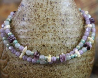 Viking inspired double strand bracelet,Czech glass lavender discs, green,cream,prong, silver plate lobster clasp and twisted rings, B157