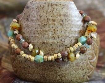 Viking inspired double strand bracelet,Czech glass turquoise, fire polished sunflower yellow, copper lobster clasp,Miyuki, Magatama,B162