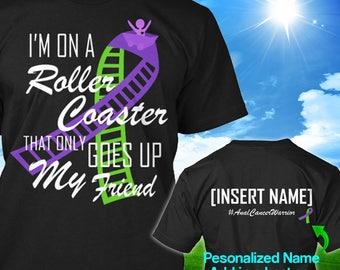 Personalized Anal Cancer Awareness Tshirt Purple Lime Green Ribbon Roller Coaster Survivor Custom T-shirt Apparel Unisex Women Youth Kid Tee