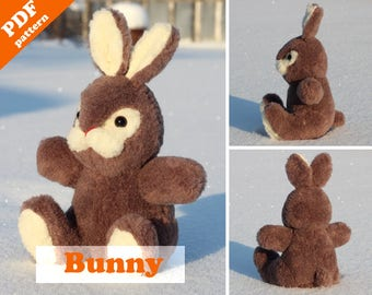 Bunny sewing pattern - PDF Instant Download. Cute bunny  plush toy pattern. Softie DIY toy - pattern & tutorial.