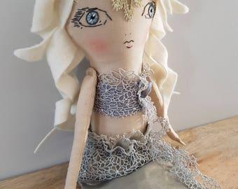Handmade Mermaid Doll 17 Inch / Cloth Doll / Fabric Doll / Heirloom Doll
