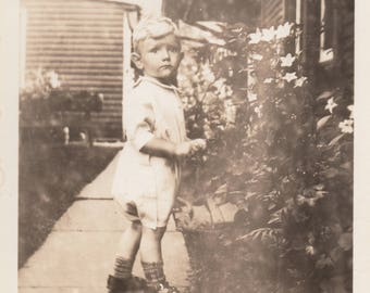 Vintage Photo Cute Blonde Boy Antique Black & White Photography Found Ephemera Paper Art Children