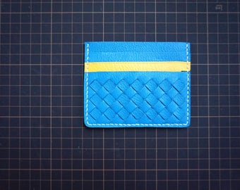 Leather woven card case