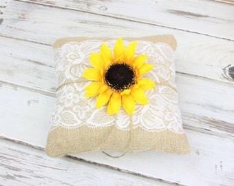 Burlap and Lace Ring Bearer Pillow - Rustic Wedding - Wedding Ring Holder - Elegant Barn Wedding - Woodland Wedding