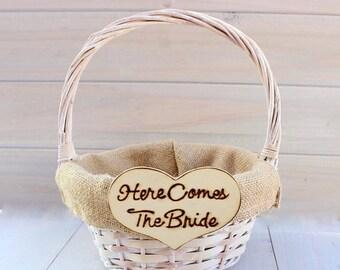 SALE Burlap Flower Girl Basket Rustic Shabby Chic Wedding Basket