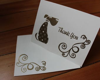 Dog Thank You Card Set of 10 - Heat Embossed Gold on Ivory Paper, Blank Inside