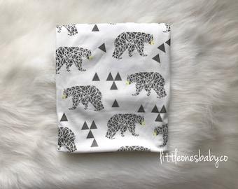 GEO BEAR--boys bear swaddle, woodland swaddle, baby blanket, cocoon swaddle