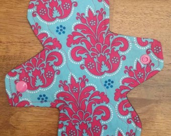 """8"""" Pink on Turquoise design cloth pad"""
