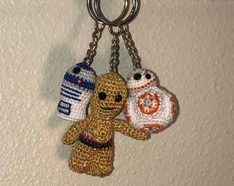 Star Wars Keychains, Droid Keychain, R2D2 Keychain, BB8 Keychain, C3PO Keychain