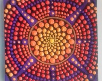 Mandala , Mandala Painting, Acrylic,  Wall art,  Canvas,  Sunset, ready to hang, boho, eastern art, boho gift, boho home, original painting