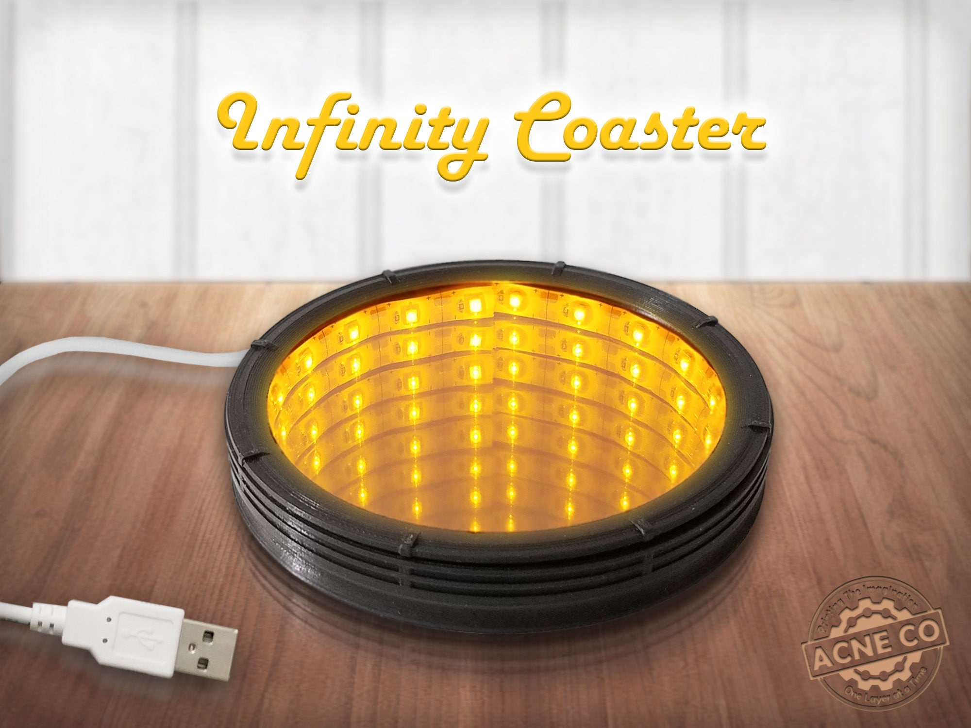 Infinity coaster usb black yellow led lights infinity infinity coaster usb black yellow led lights infinity mirror drink coaster aloadofball Images