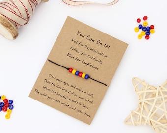 Inspirational Bracelet, Positive Thinking Bracelet, Friendship Wish Bracelet, You Can Do It, Exam Wish Bracelet, Inspirational Gift