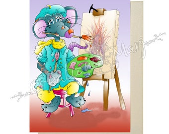 Artist, painter, relaxing, happy, relaxing card card card, congratulations card mouse