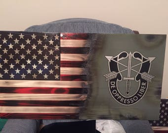 Custom made wooden American/military flage