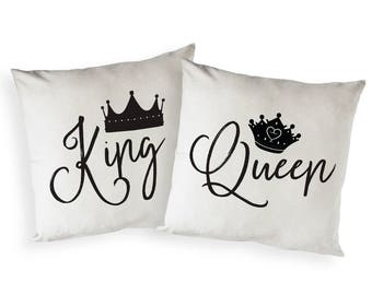 Cotton Canvas King and Queen Pillowcase, Cushion Cover and Decorative Throw Pillow Cover, Wedding Gift, Housewarming, Home Decor, 2-Pack