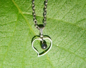 Hematite Genuine Gemstone Pendant Necklace with silver-plated setting and chain