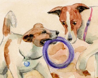 "Card without inscription ""Two Terriers Playing With Ring"", Download"