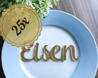 25x Personalised Laser Cut Gold / Silver Mirror Acrylic or Wooden Name Place cards Wedding, Christening, Baptism, Birthday