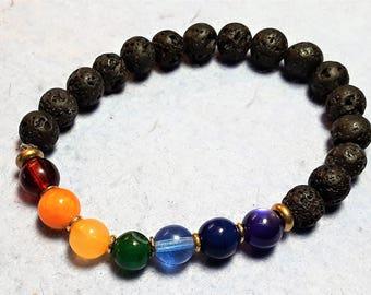 Chakra Bracelet, Chakra Wrist Mala, Yoga Bracelet,  Beaded Rainbow Bracelet