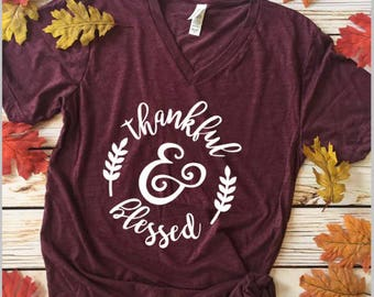 Thankful and Bless V-Neck Tee