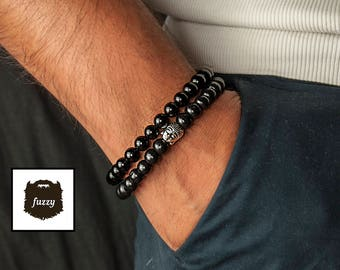 Men Bracelet set, Men Buddha Bracelet, Men black bracelet, Yoga Bracelet, beaded bracelet, Mens Bracelet, Mens Vegan, Men Mala bracelet set