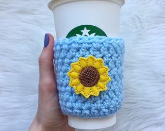 Sunflower Cup Sleeve, Sunflower Coffee Cozy