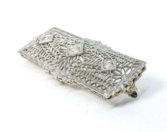 Antique Diamond Pin 0.15 CTTW 14k White Gold