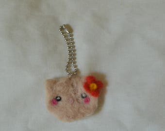 Adorable Needle Felted Cat Keychain Accessory