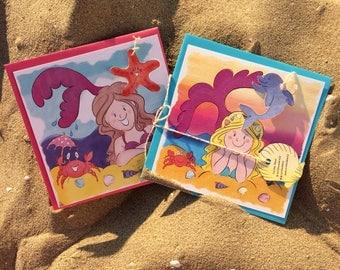 Set of 2 cute mermaid cards