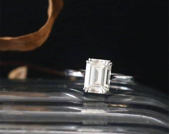 14K White Gold Moissanite Engagement Ring 8*6mm Emerald Cut Forever Classic Moissanite Ring Plain Solitaire Ring C&C Brilliant Bridal Ring