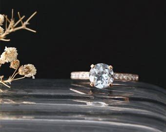14K Rose Gold March's Birthstone Ring Classical Aquamarine Engagement Ring 7mm Round Cut Natural Aquamarine Ring Bridal Ring Gemstone Ring
