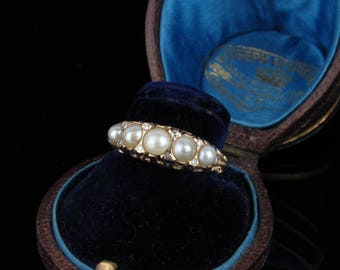 Antique Late Victorian 14K Natural Pearl & Diamond Half Hoop Ring