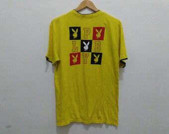 Playboy shirt men medium yellow playboy tee