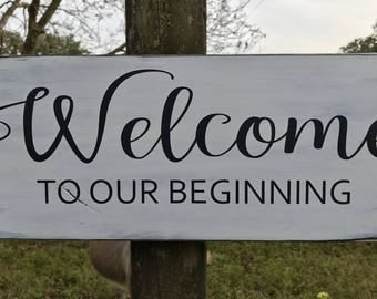 Welcome to our beginning wood sign