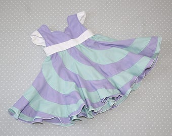 6 month Lilac and Green Peppermint Swirl Dress, Swirl Dress, Girls Boutique Dress, Toddlers Dress,Girls Holiday Dress, Party, Occasion Dress