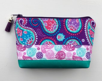 Cosmetic Bag, Makeup Bag, Zipper Pouch, Paisley, Funky